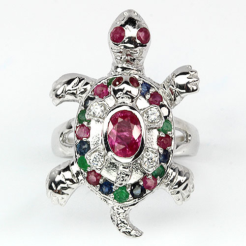 GEMSINOR Jewelry&Gems - ADORABLE NATURAL FANCY EMERALD-RUBY-SAPPHIRE-CZ 925 SILVER TURTLE,BABY RING Sz 7