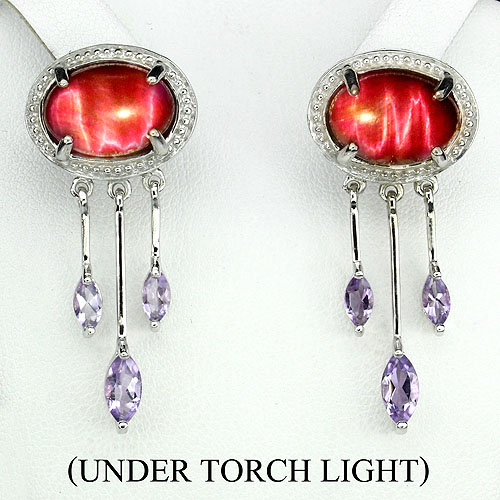 GEMSINOR Jewelry&Gems - ELEGANT! OVAL 14x9mm. RED TIGER EYE-PURPLE AMETHYST STERLING 925 SILVER EARRINGS