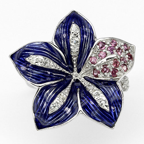 AWESOME! DESIGNED NATURAL PURPLE AMETHYST-WHITE TOPAZ 925 SILVER ENAMEL RING 7.5