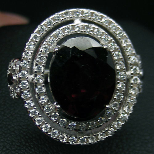 GEMSINOR Jewelry&Gems - TERRIFIC! NATURAL! RED RHODOLITE GARNET & WHITE CZ 925 SILVER RING WHITE GP