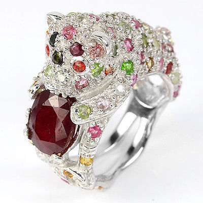 HUGE RARE NATURAL RED RUBY,FANCY TOURMALINE,SAPPHIRE 925 SILVER BEAR RING Sz 9.5