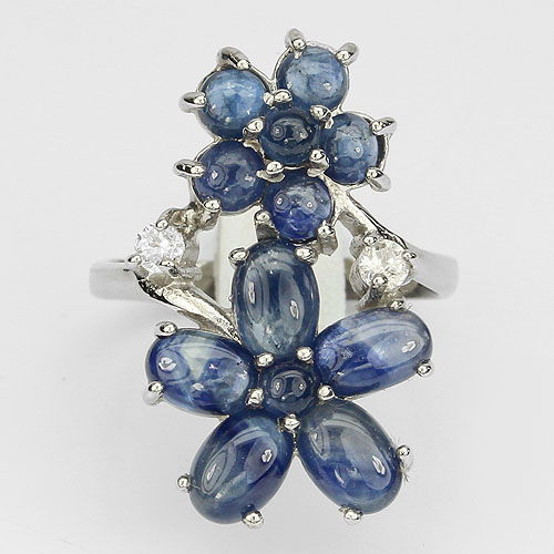GEMSINOR Jewelry&Gems - BEAUTEOUS NATURAL TOP RICH BLUE SAPPHIRE-WHITE CZ STERLING 925 SILVER FLOWERS RING 6.5
