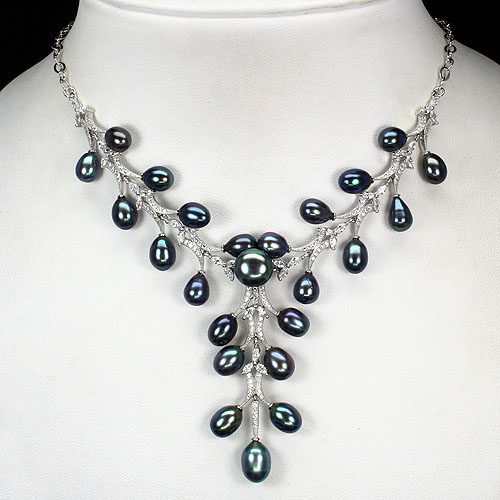 GEMSINOR Jewelry&Gems - LUXURIOUS! NATURAL BLACK TAHITAN COLOR PEARL-WHITE CZ 925 SILVER FLORAL NECKLACE