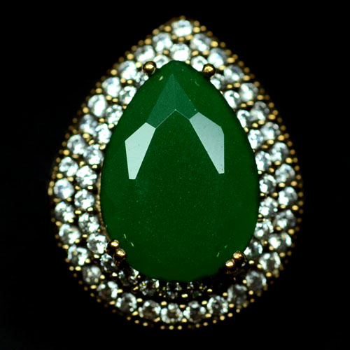 GEMSINOR Jewelry&Gems - AMAZING! NATURAL! GREEN AGATE & WHITE CZ 925 SILVER - BRASS RING SIZE 7.5