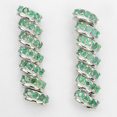 GEMSINOR Jewelry&Gems - ELEGANT! NATURAL 70pcs. RICH GREEN EMERALD COLOMBIA STERLING 925 SILVER EARRINGS