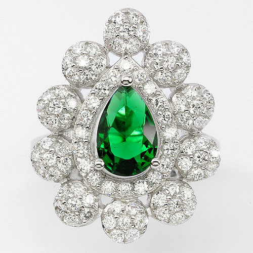GEMSINOR Jewelry&Gems - SUBLIME! AAA RICH GREEN, WHITE CUBIC ZIRCONIA STERLING 925 SILVER RING SIZE 6.5
