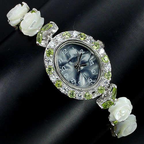GEMSINOR Jewelry&Gems - LUXURY NATURAL PERIDOT,MOP CARVED,DIAL MOP,CZ 925 SILVER WATCH WATER RESISTANT 7