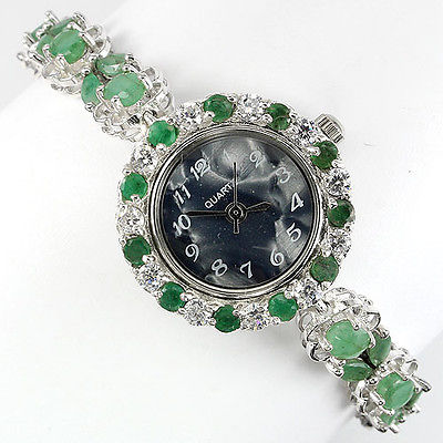 GEMSINOR Jewelry&Gems - GORGEOUS! NATURAL TOP RICH GREEN EMERALD,DIAL MOP,AAA WHITE CZ 925 SILVER WATCH