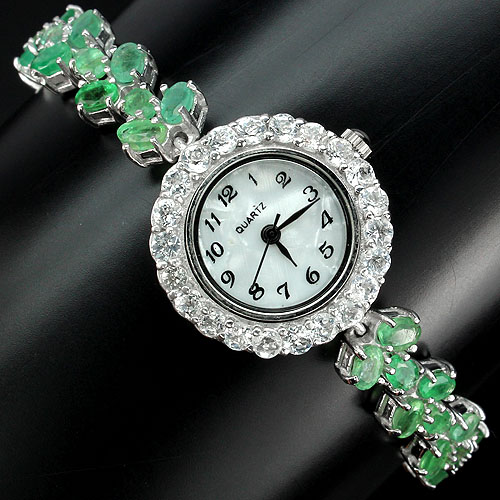 RARE! REAL OVAL 5x3mm. GREEN COLOMBIAN EMERALD,WHITE TOPAZ,DIAL MOP 925 SILVER WATCH