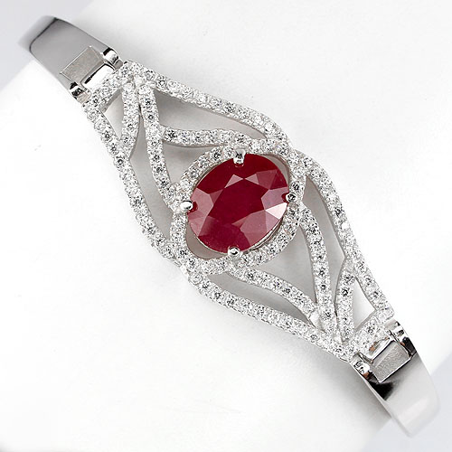 GEMSINOR Jewelry&Gems - MAGNIFICENT NATURAL 9x7mm TOP RICH RED RUBY-W CZ STERLING 925 SILVER BRACELET NR