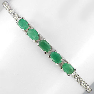 GEMSINOR Jewelry&Gems - ELEGANT NATURAL GEM TOP RICH GREEN EMARALD-W CZ STERLING 925 SILVER BRACELET 7in