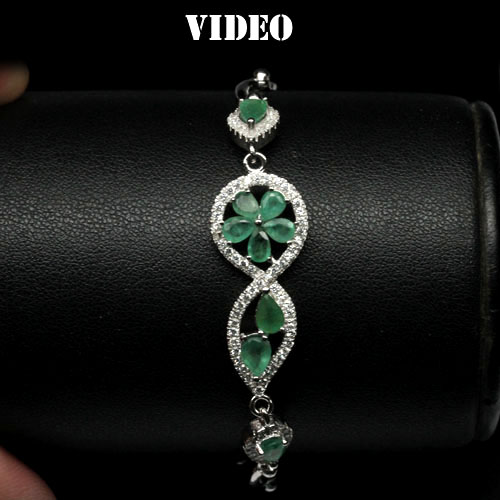 GEMSINOR Jewelry&Gems - AMAZING! NATURAL! GREEN EMERALD & WHITE CZ 925 SILVER BRACELET WHITE GOLD PLATED