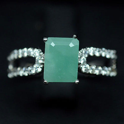 GEMSINOR Jewelry&Gems - FABULOUS! NATURAL! GREEN EMERALD & WHITE CZ 925 SILVER RING WHITE GP SIZE 7.5