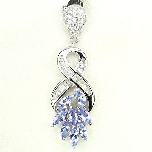 GEMSINOR Jewelry&Gems - DELUXE NATURAL GEM TOP NICE BLUE VIOLET TANZANITE-WHITE CZ 925 SILVER PENDANT NR