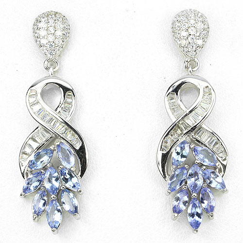 GEMSINOR Jewelry&Gems - DELUXE! NATURAL GEM TOP NICE BLUE VIOLET TANZANITE-WHITE CZ 925 SILVER EARRINGS