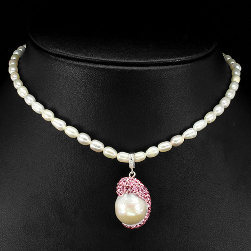 BEWITCHING! NATURAL CREAMY WHITE PEARL-CRYSTAL-WHITE CZ 925 SILVER BEAD NECKLACE