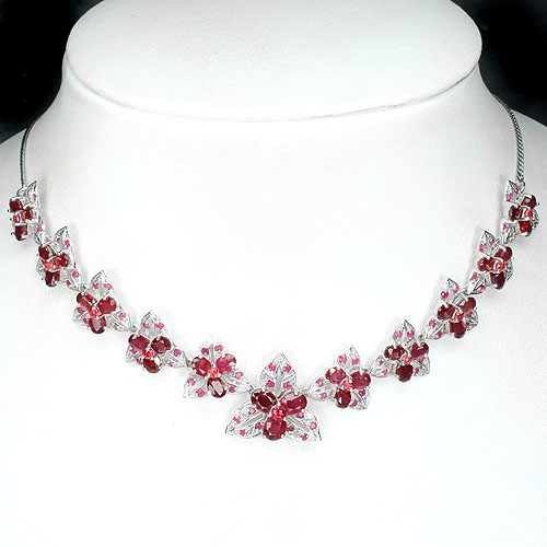 GEMSINOR Jewelry&Gems - LUXURY! NATURAL GEM TOP BLOOD RED RUBY-SAPPHIRE STERLING 925 SILVER NECKLACE18#