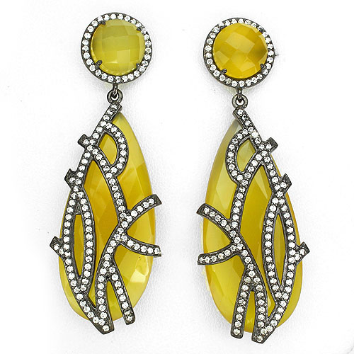 GEMSINOR Jewelry&Gems - HANDMADE JEWELRY JUMBO RARE! YELLOW DYED CHALCEDONY-W CZ BLACK RHODIUM PLATED 925 SILVER EARRINGS