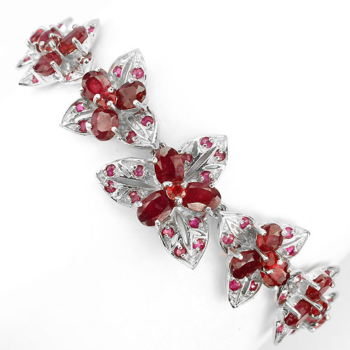 GEMSINOR Jewelry&Gems - LUXURY! NATURAL GEM TOP BLOOD RED RUBY-RED SAPPHIRE STERLING 925 SILVER BRACELET