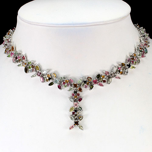 RARE! SUMPTUOUS NATURAL 279pcs TOP FANCY COLORS TOURMALINE 925 SILVER NECKLACE