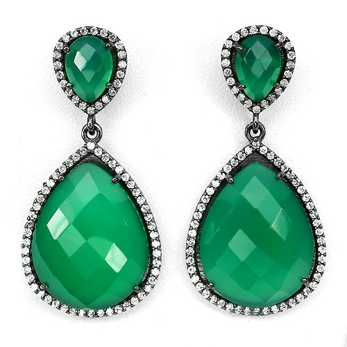 GEMSINOR Jewelry&Gems - BIG NATURAL 21x17mm GREEN AVENTURINE-CZ BLACK RHODIUM PLATED 925 SILVER EARRINGS