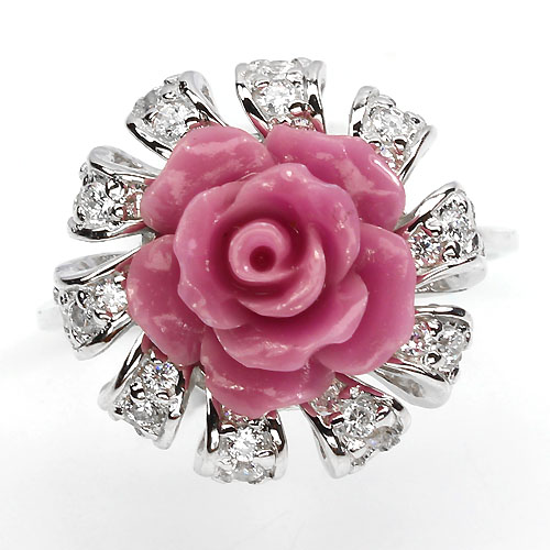 GEMSINOR Jewelry&Gems - W@W! ELEGANT AAA WHITE CUBIC ZIRCONIA STERLING 925 SILVER ROSE RING SIZE 6# L@@K