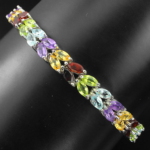GEMSINOR Jewelry&Gems - LUXURIOUS! NATURAL 56p AMETHYST-GARNET-PERIDOT-CITRINE-TOPAZ 925 SILVER BRACELET