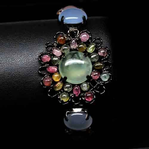 GEMSINOR Jewelry&Gems - FINE! NATURAL! CHALCEDONY, TOURMALINE, QUARTZ & PREHNITE 925 SILVER BRACELET