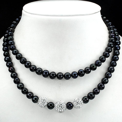 W@W! NATURAL BLACK TAHITAN COLORS PEARL-WHITE CRYSTAL 925 SILVER BEAD NECKLACE