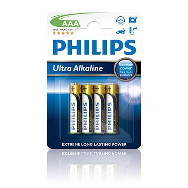 Pilas alcalinas AAA Philips Ultra Alkaline - Pack 4 unidades
