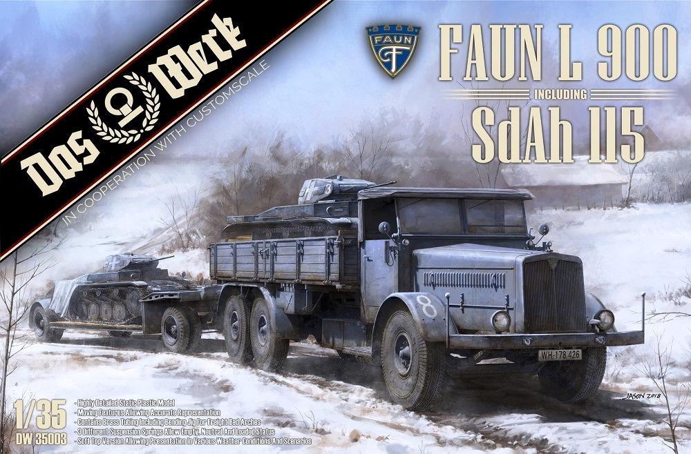 hobby-maquetas.net - DAS WERK MODELS DW35003 German Faun L 900 with Sd.Ah.115 10ton Low Bed Trailer