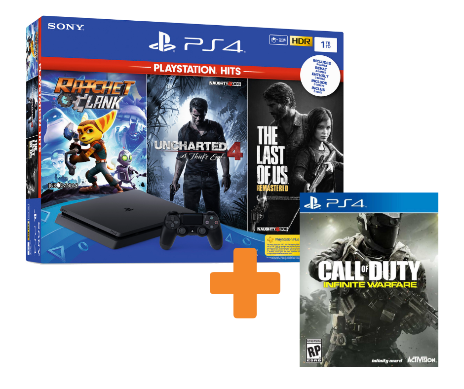 KareenaElectronics - SONY Playstation 4 Slim 1TB + Ratchet & Clank + The Last of Us + Uncharted 4 + Call of Duty: Infinite Warfare