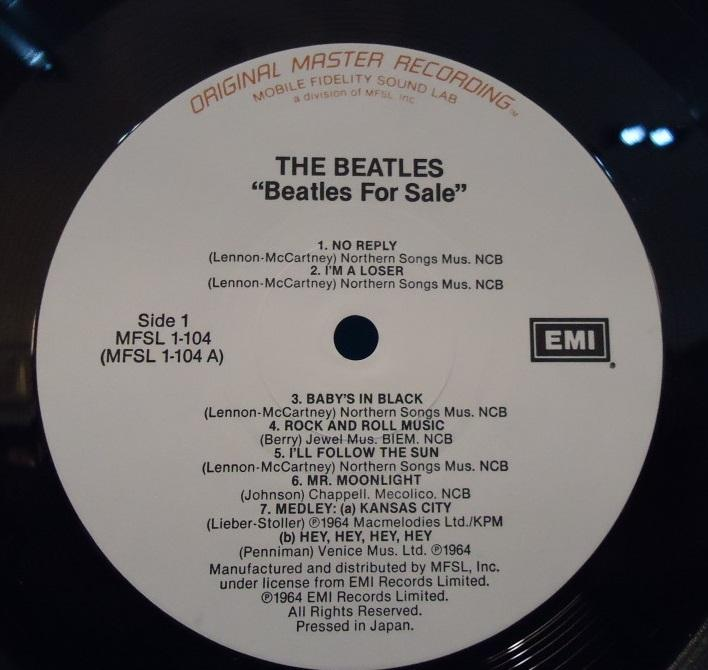 Nakasha - LP The Beatles ‎– Beatles For Sale Mobile Fidelity Sound Lab Vinyl A SIDE EXC+ B SIDE NM Cover VG++