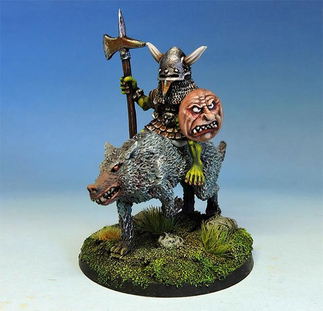 nightmaregames - Bulbus Peppernose, legendary goblin hero on wolf