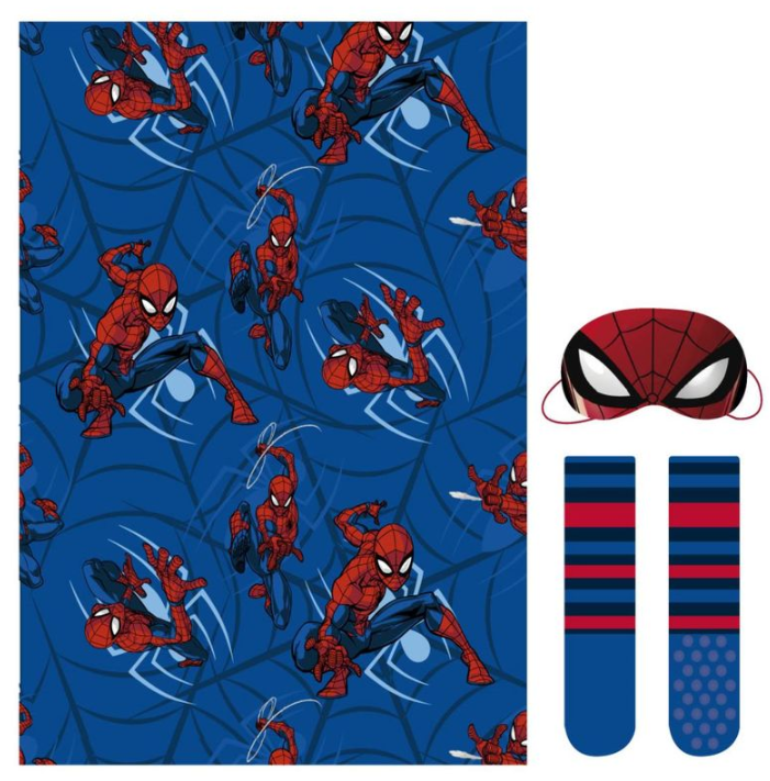 pituti - MARVEL Set regalo manta, calcetines y antifaz de Spiderman