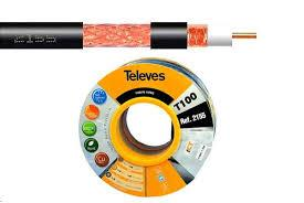 TELECO ALBACETE - Televes Cable Coaxial TV T100Plus Negro 100m 215501