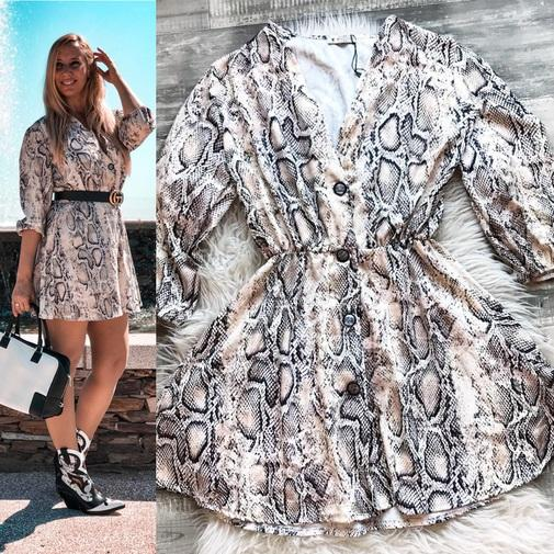 Trendy Boutique - VESTIDO ANIMAL PRINT BOTONES
