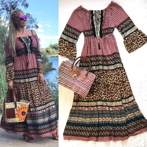 Trendy Boutique - VESTIDO BOHO ESTAMPADO PATCHWORK
