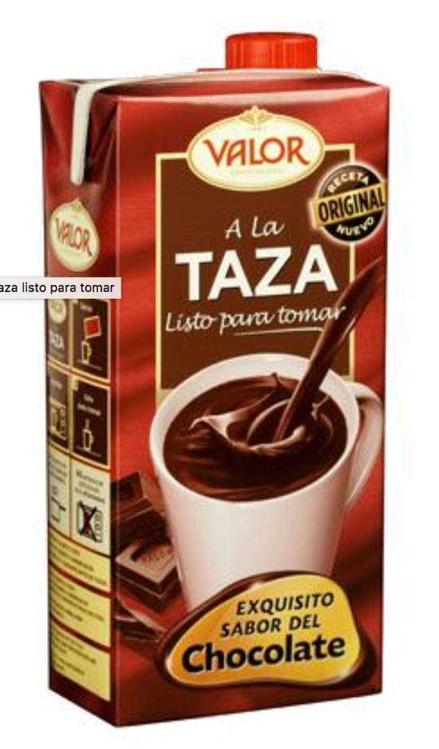 yourspanishplace - VALOR Chocolate a la taza listo para tomar 1 l